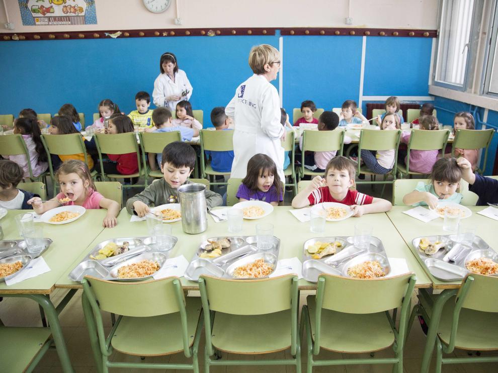 Comedor del colegio Zalfonada, uno de los interesados en la jornada continua.