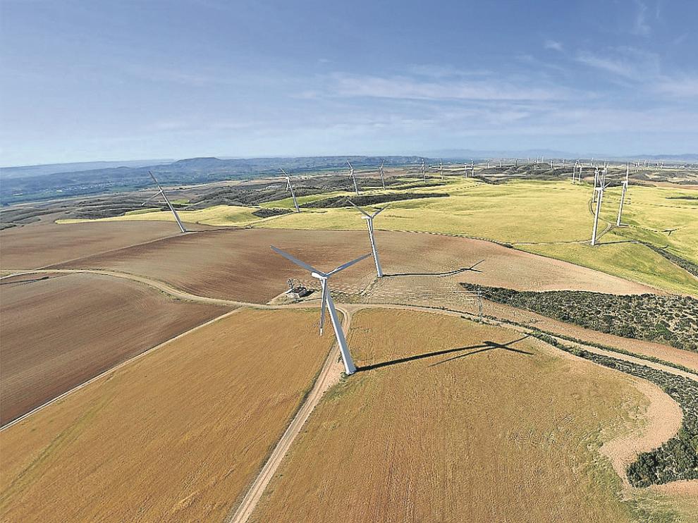 Parque eólico que tiene en explotación del grupo Jorge en Plasencia de Jalón desde 1999.