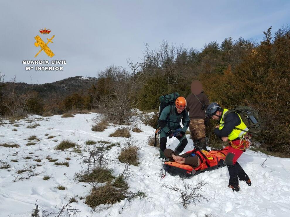 Rescate de un cazador en Huesca