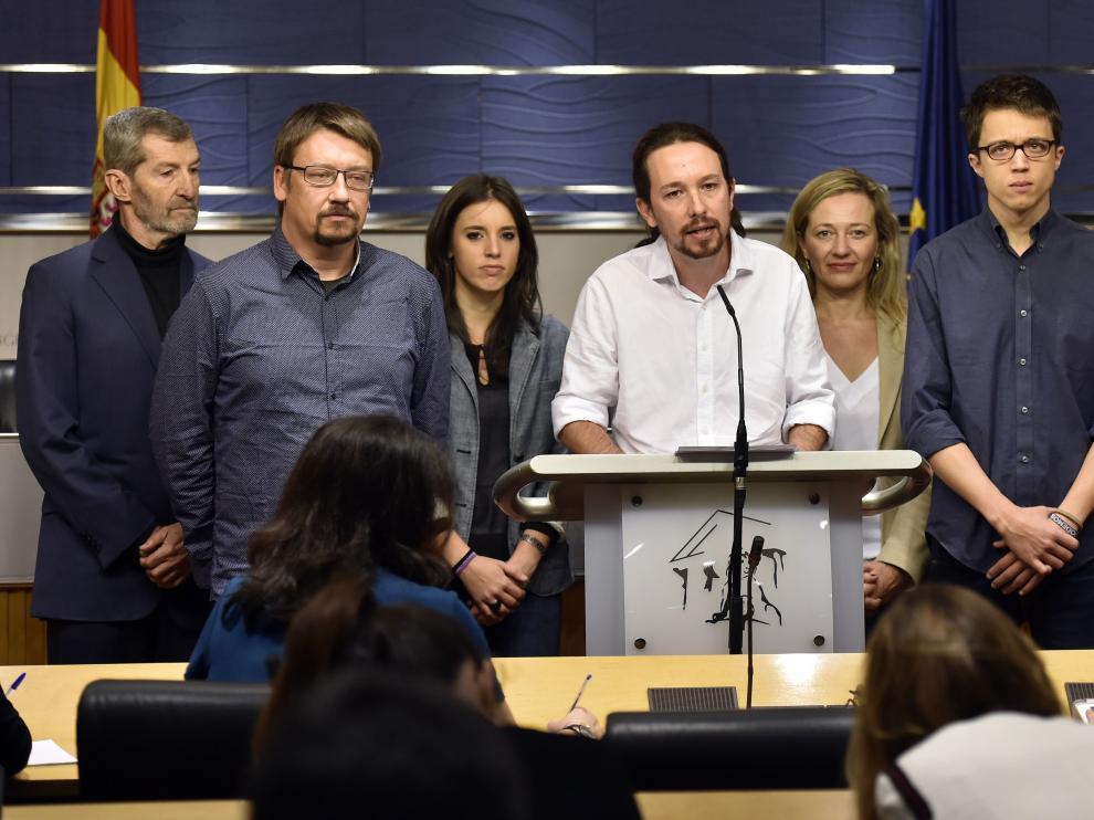 Pablo Iglesias tras su reunión con el Rey en rueda de prensa en el Congreso
