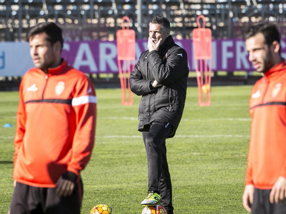 Lluís Carreras, durante un entrenamiento del Real Zaragoza