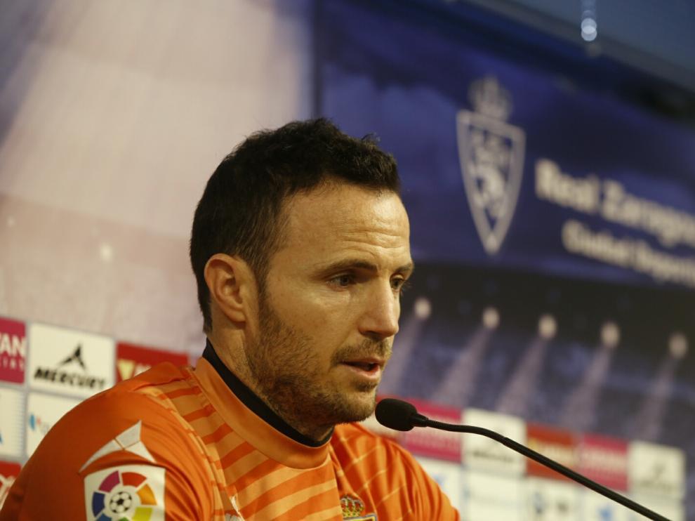 Rueda de prensa de Manu Herrera, portero del Real Zaragoza.