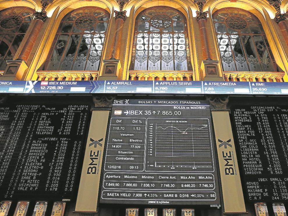 La bolsa española en su apertura del pasado viernes, en que se produjo un repunte del Ibex.