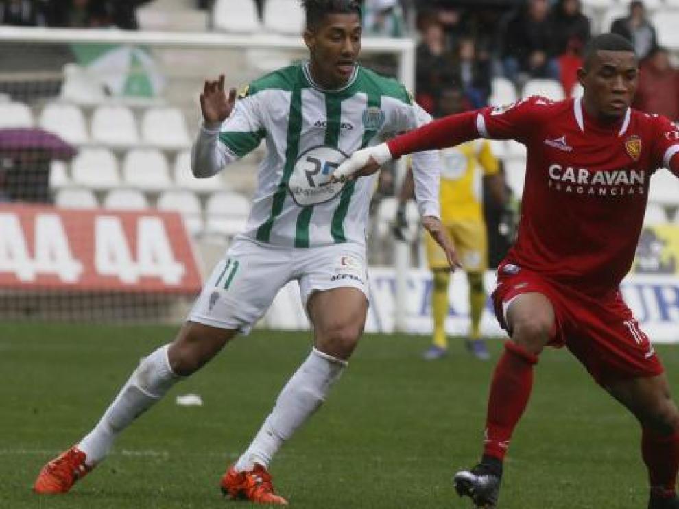 Hinestroza, durante el partido ante el Córdoba