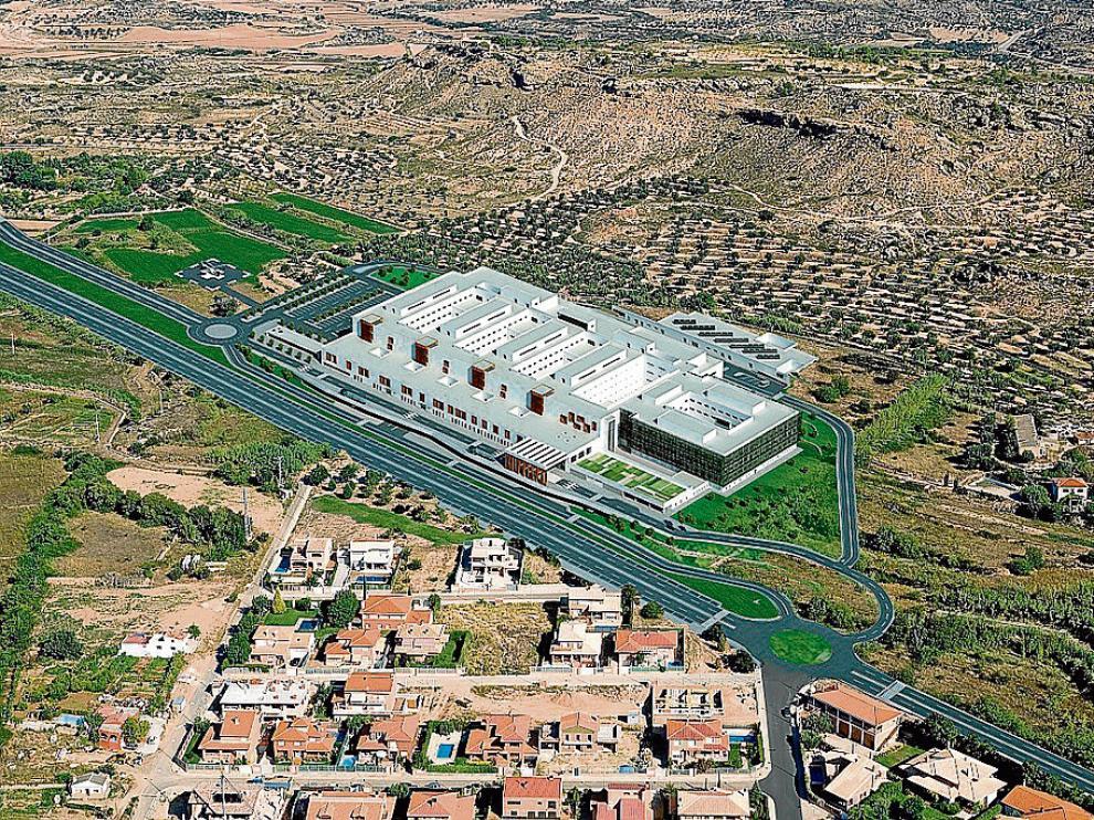 El nuevo hospital de Alcañiz –en la imagen, la recreación infográfica– está previsto en Cantagallos, a las afueras de la ciudad.