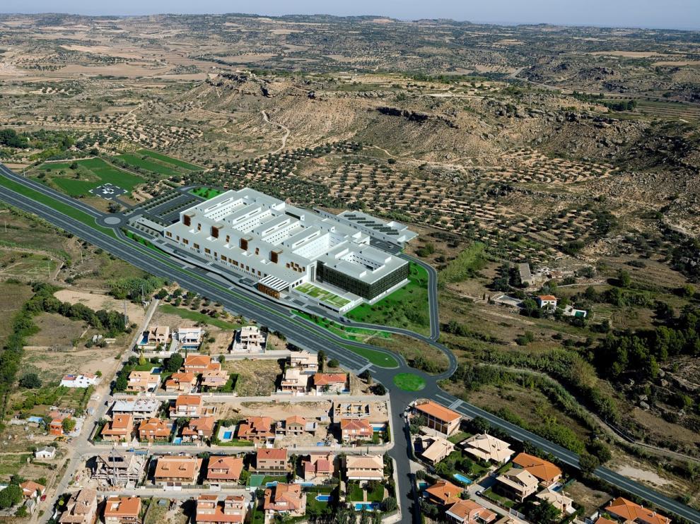 Recreación virtual del futuro hospital de Alcañiz.