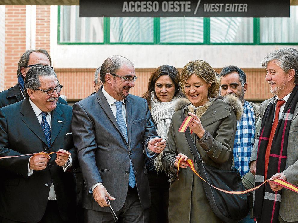 Manuel Teruel, Javier Lambán, Isabel García Tejerina, Pedro Santisteve y Joaquín Olona, ayer en la inauguración de FIMA.