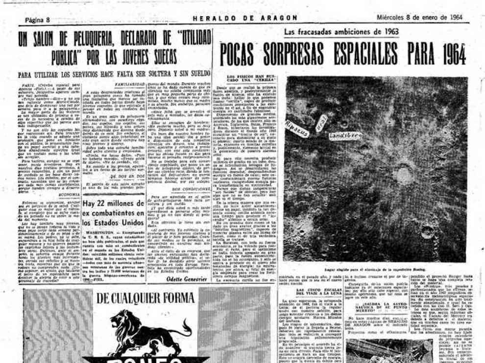 Noticia publicada en Heraldo de Aragón el 8 de enero de 1964.
