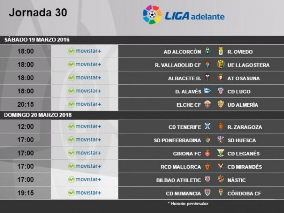 Horarios de la jornada 30ª de Segunda División.