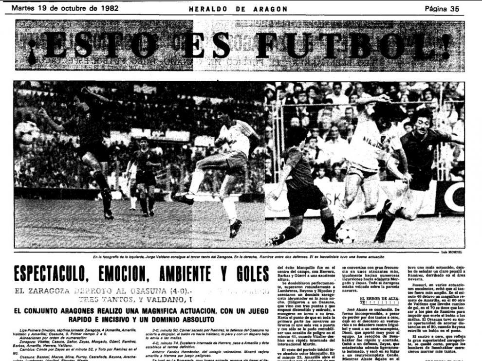 Crónica de HERALDO DE ARAGÓN del partido Real Zaragoza-Osasuna en La Romareda en octubre de 1982. Ganaron los zaragocistas 4-0 en medio de una fiesta entre ambas aficiones.