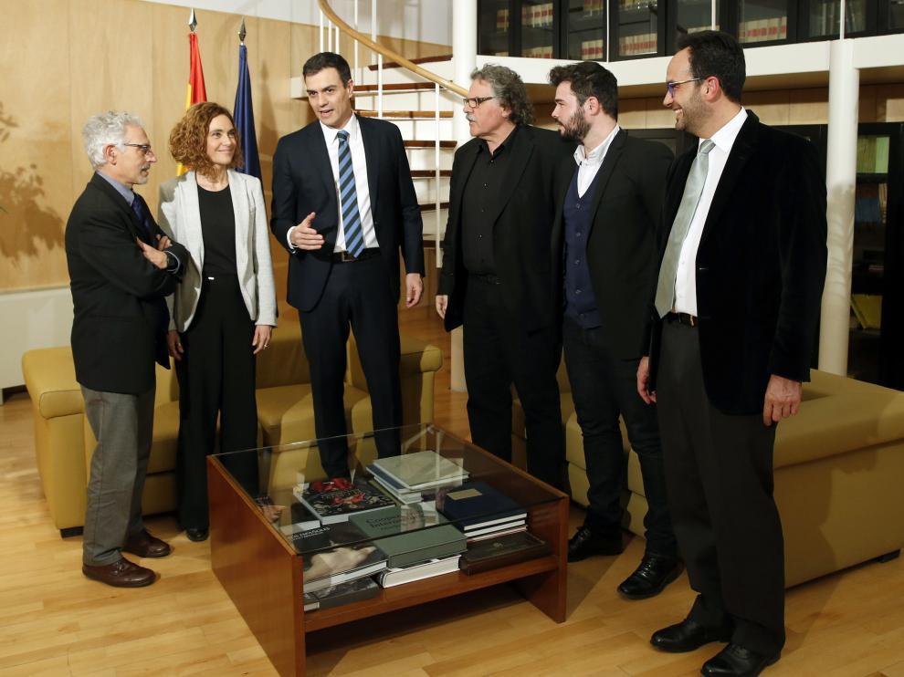 Reunión de Sánchez con los independentistas catalanes