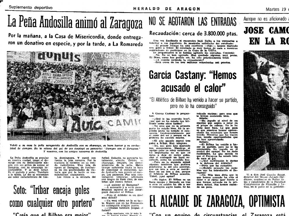 Artículo de Heraldo dedicado a la Peña Zaragocista de Andosilla, en marzo de 1974, tras un Real Zaragoza 3-Athletic de Bilbao 0.