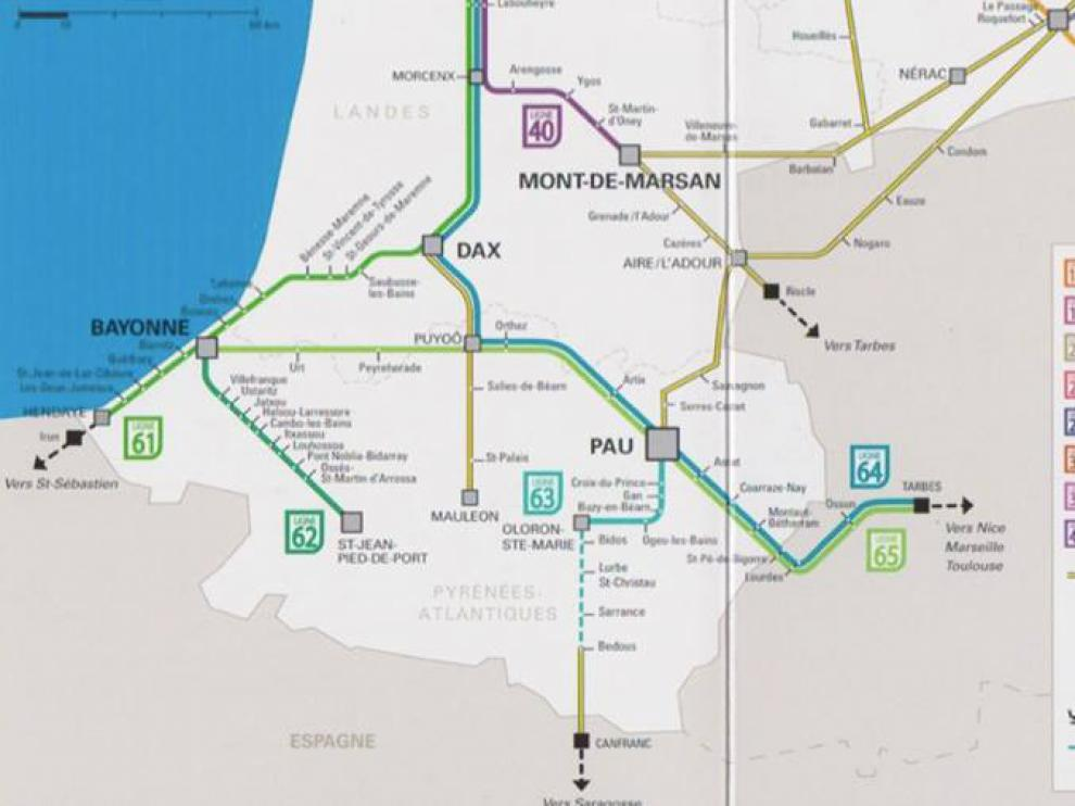 El mapa oficial de los trenes de la gran región Aquitania-Limousin-Poitou-Charentes incluye la inauguración del nuevo tramo Olorón-Bedous en junio de 2016 y la conexión hasta Canfranc, rumbo hacia Zaragoza.