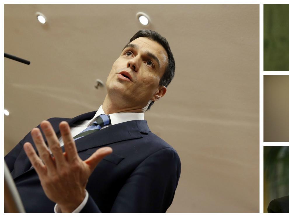Combo de imágenes de Sánchez, Rivera, Iglesias y Rajoy.