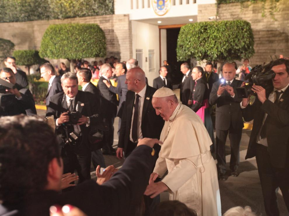El papa Francisco durante su visita a México.