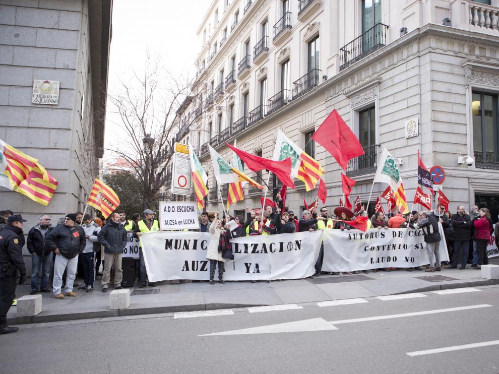 La protesta de los trabajadores de Auzsa en Madrid