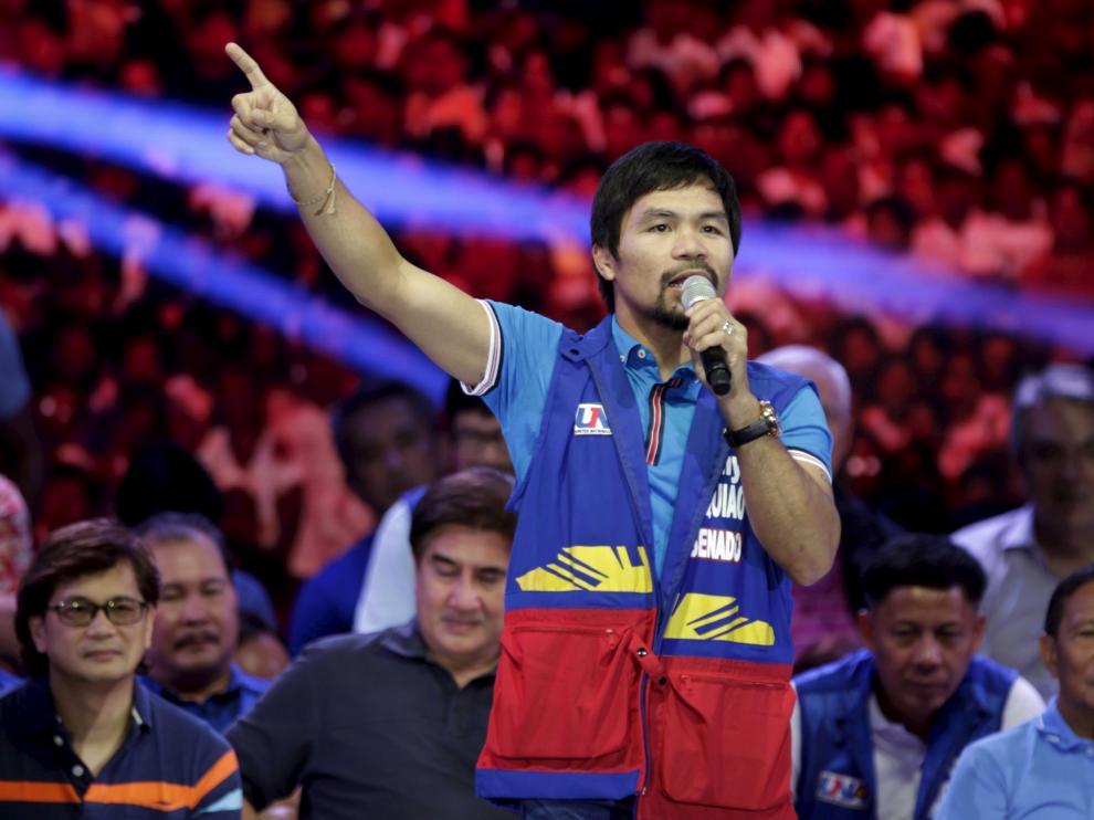 El boxeador filipino Manny Pacquiao, antes de un combate