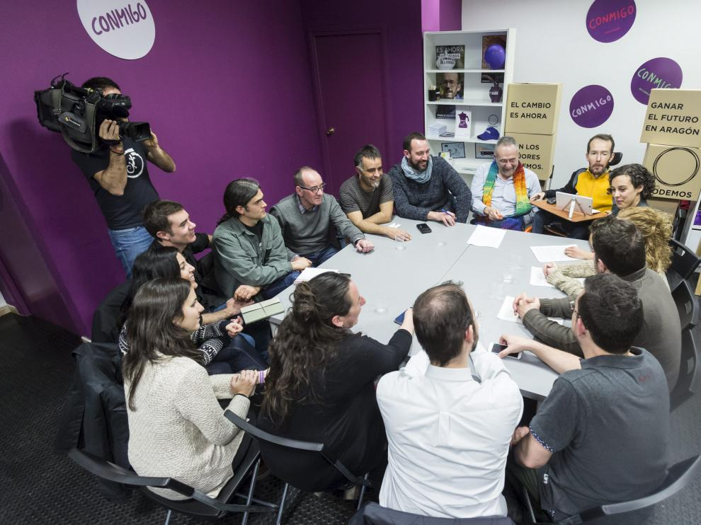 Reunión entre Podemos Aragón, Alto Aragón en Común, En Comú Podem, Podemos Euskadi, Navarra, La Rioja y con Equo.