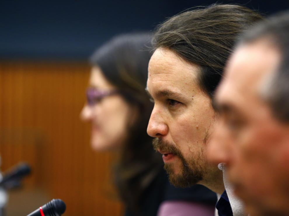 El líder de Podemos, Pablo Iglesias, durante su intervención este viernes.