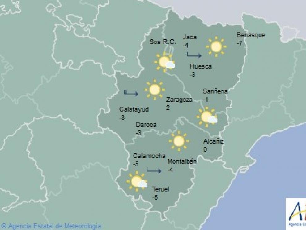 Temperaturas de hasta -7 grados en Aragón