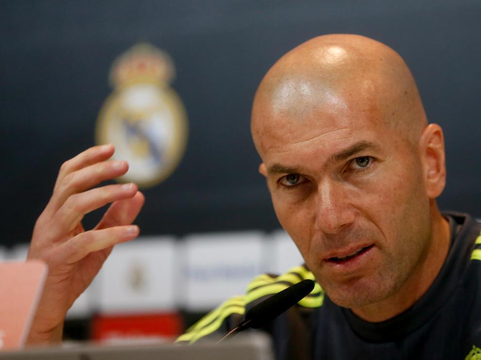 Zidane durante la rueda de prensa.