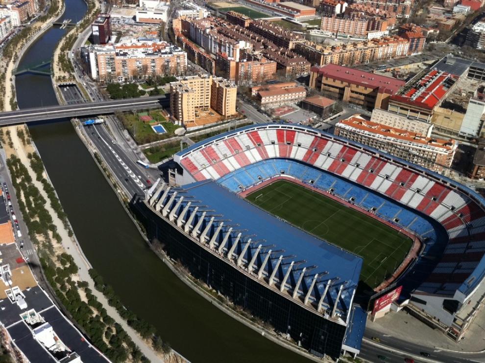 Una imagen aérea del estadio Vicente Calderón, sede de la final de la Copa del Rey.
