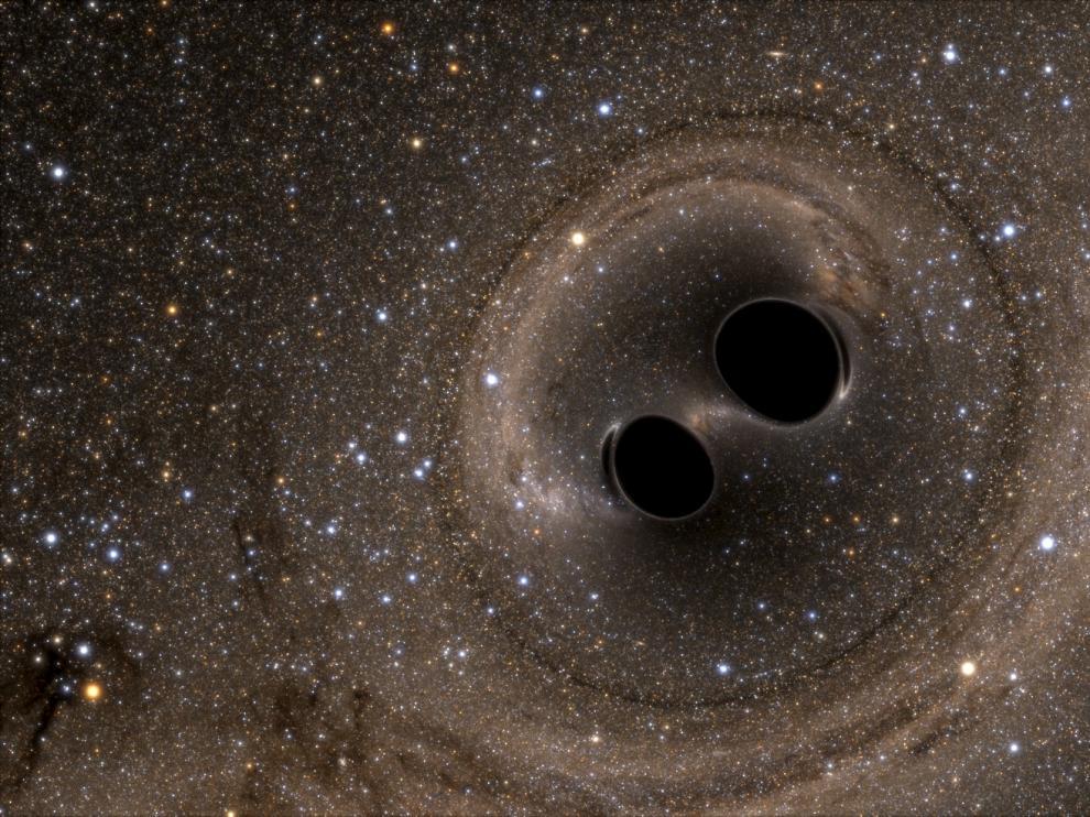 Simulación de la fusión de los dos agujeros negros de los que proceden las ondas gravitacionales detectadas desde el observatorio Ligo (Estados Unidos).