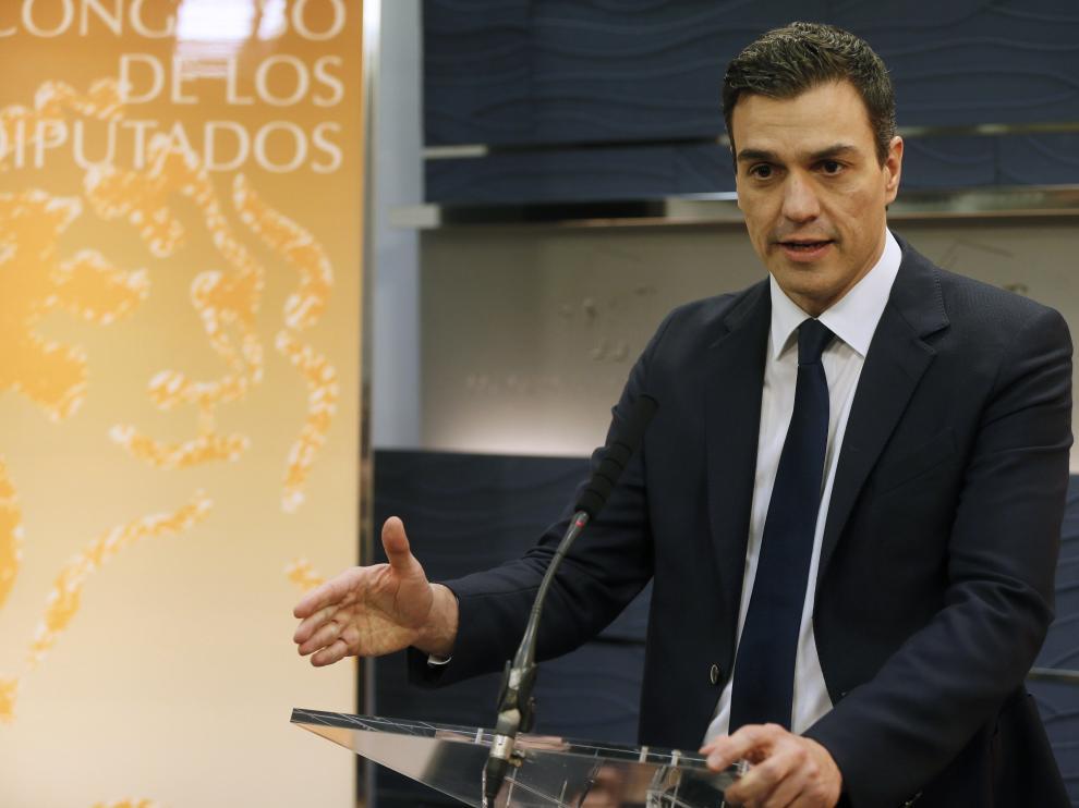 Sánchez en su comparecencia ante los medios en el Congreso de los DIputados