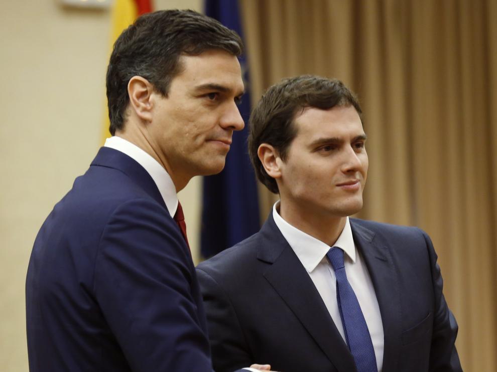 Pedro Sánchez y Albert Rivera este miércoles.