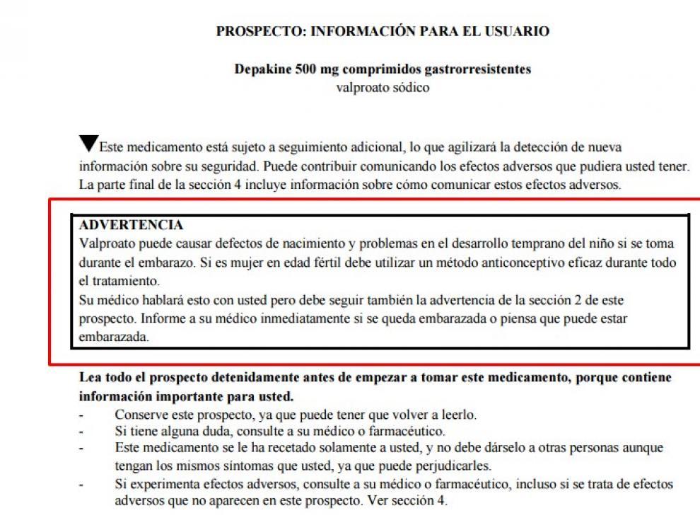 La Asociación Española de Medicamentos y Productos Sanitarios (AEMPS) emitió ya una advertencia sobre el uso de este medicamento prescrito a mujeres embarazadas.