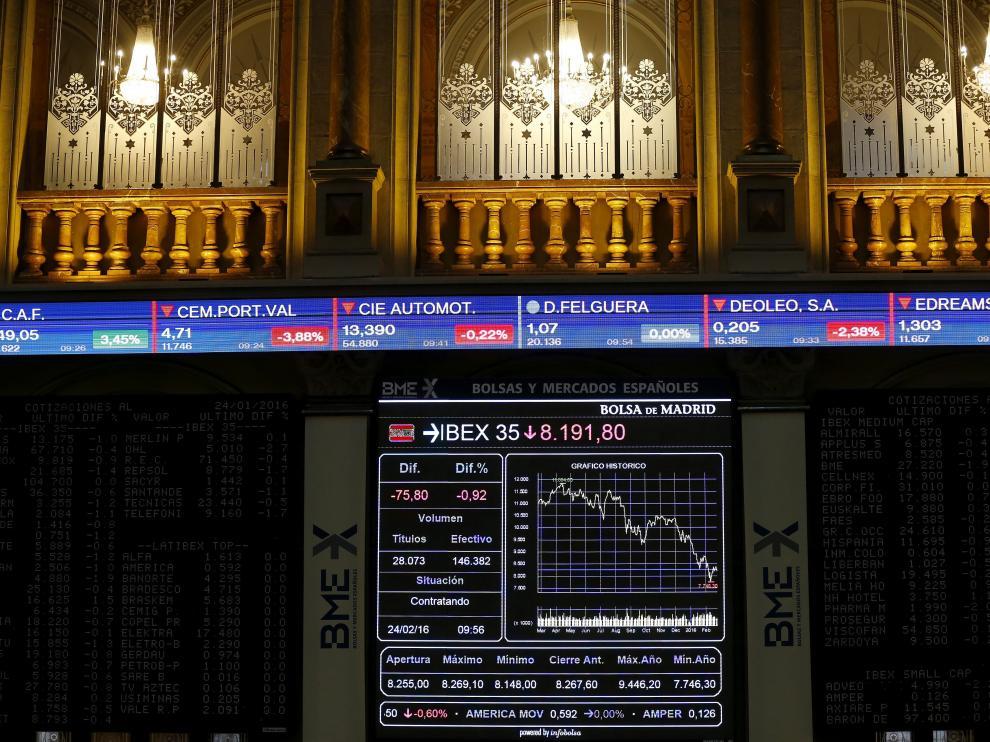 Panel informativo de la Bolsa española, este miércoles.