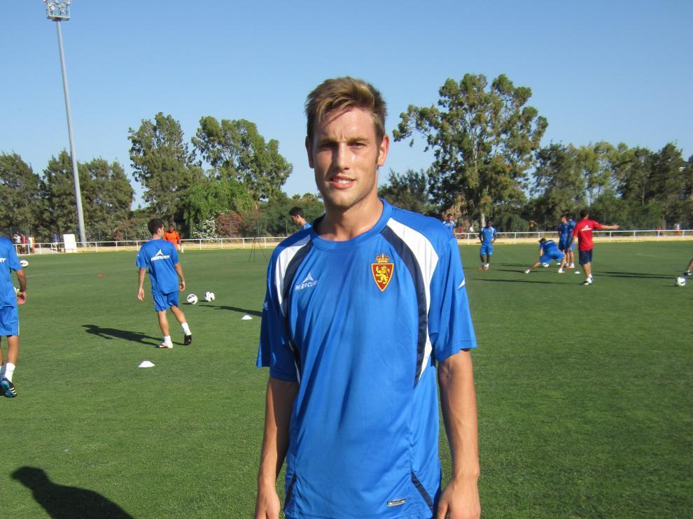 Carlos Hernández, en julio de 2012 cuando se incorporó al Real Zaragoza en la concentración estival de Costa Ballena (Cádiz).
