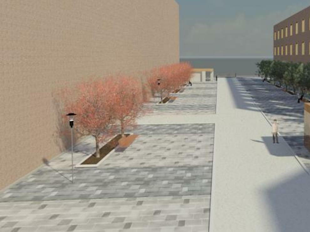 Recreación del futuro acceso al aparcamiento