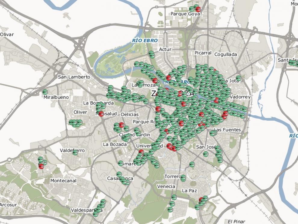 Puntos operativos de la red Zaragoza Wifi