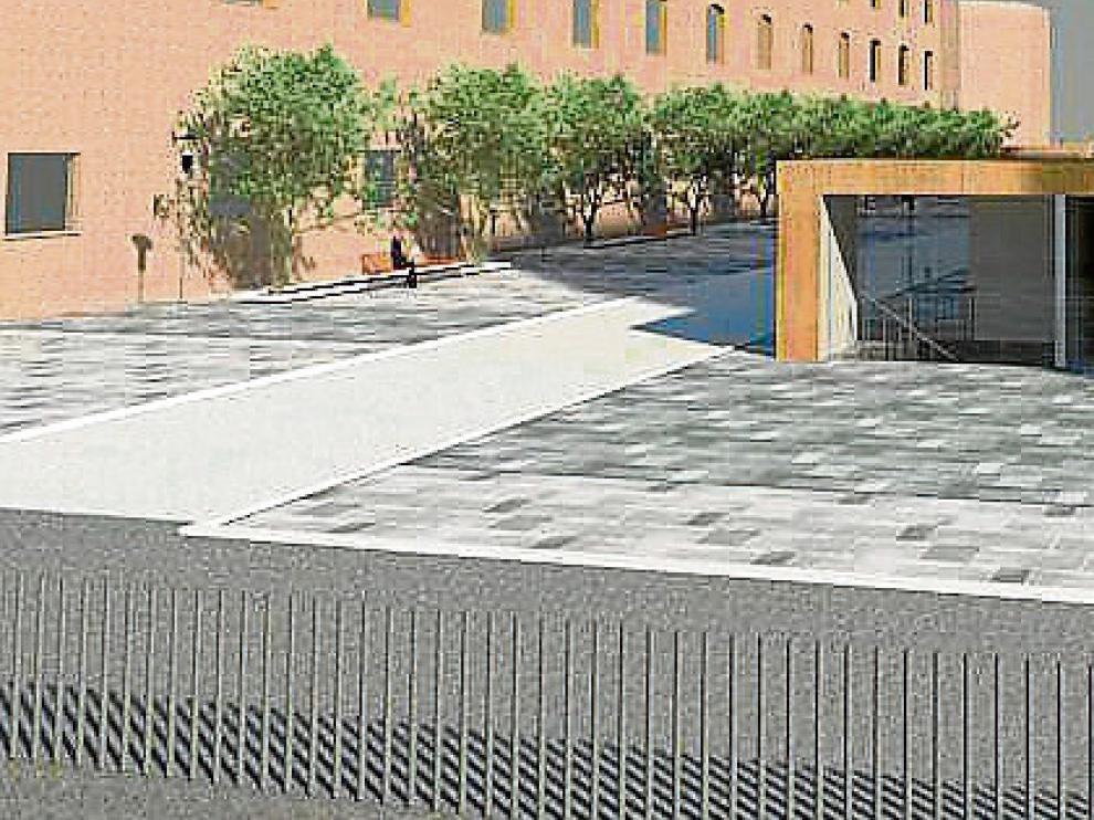Recreación aproximada de la futura plaza que se construirá en la superficie.