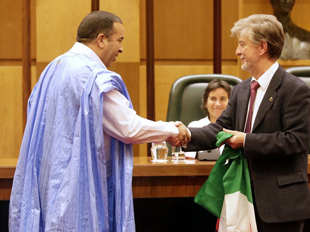 Pedro Santisteve, durante el acto de apoyo al pueblo saharaui