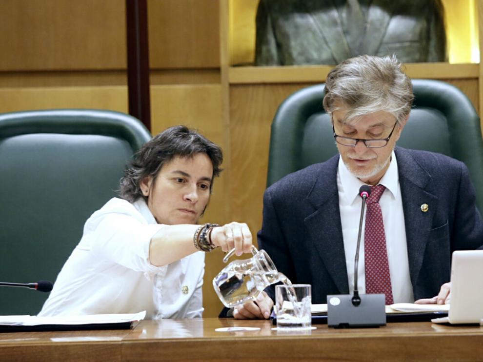 El alcalde de Zaragoza, Pedro Santisteve, durante el pleno municipal de este viernes.