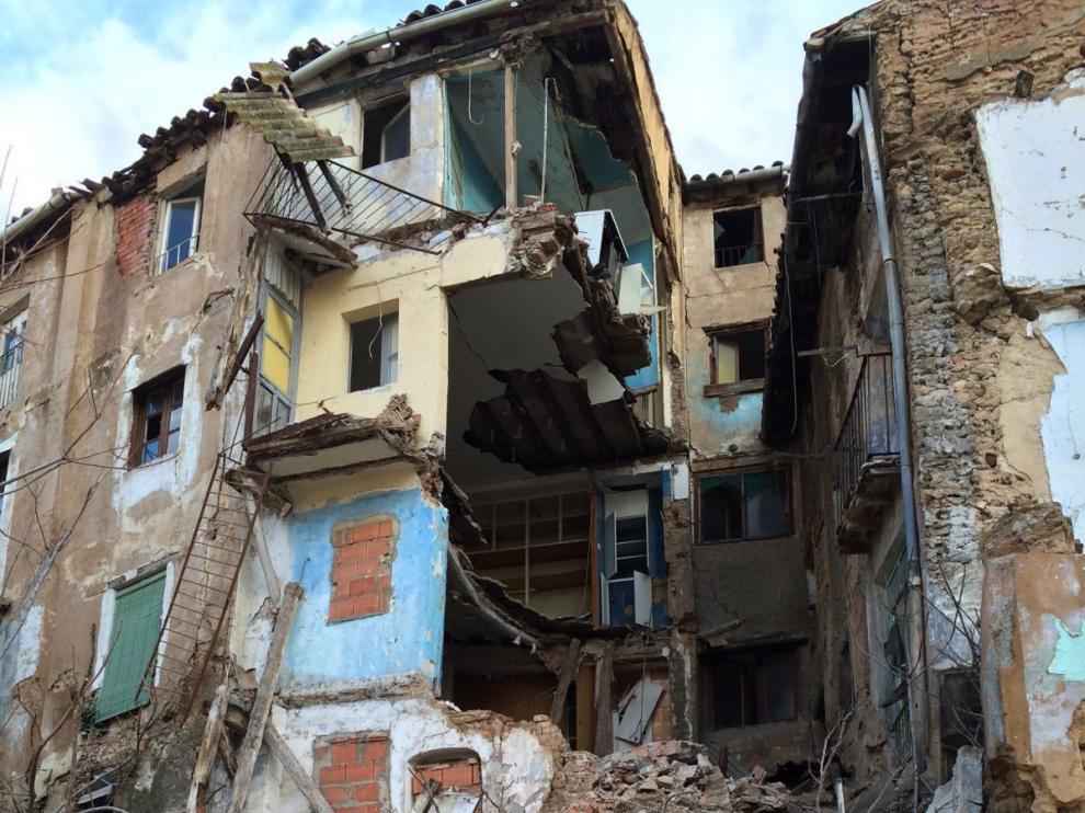 El temporal derriba dos edificios en la provincia de Zaragoza