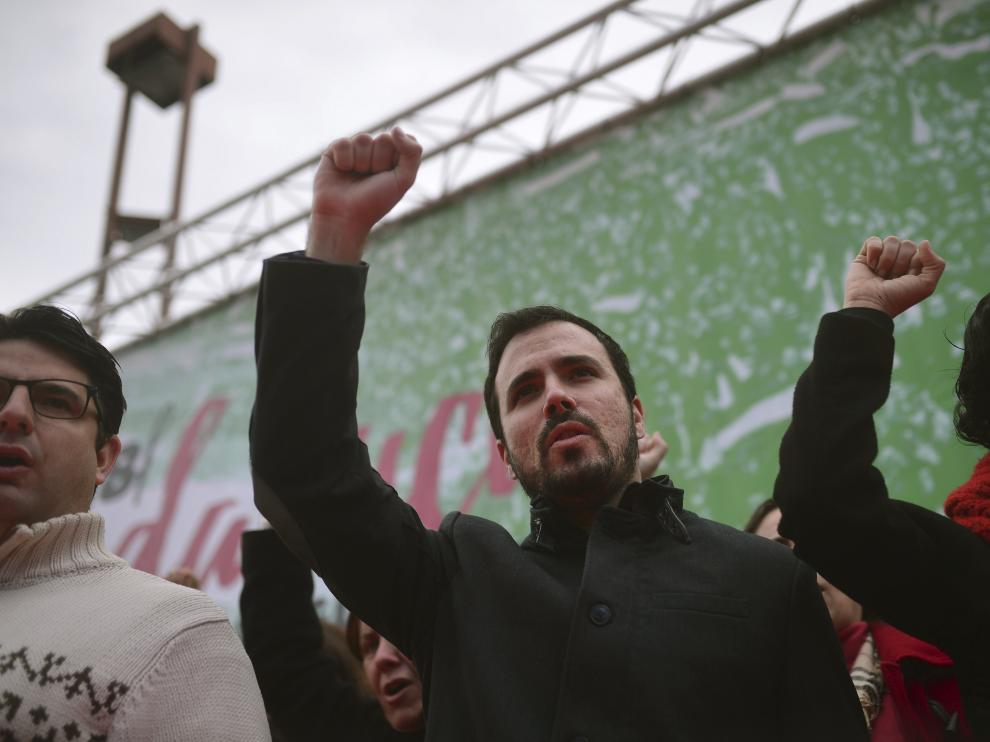 Alberto Garzón en la manifestación el Día de Andalucía