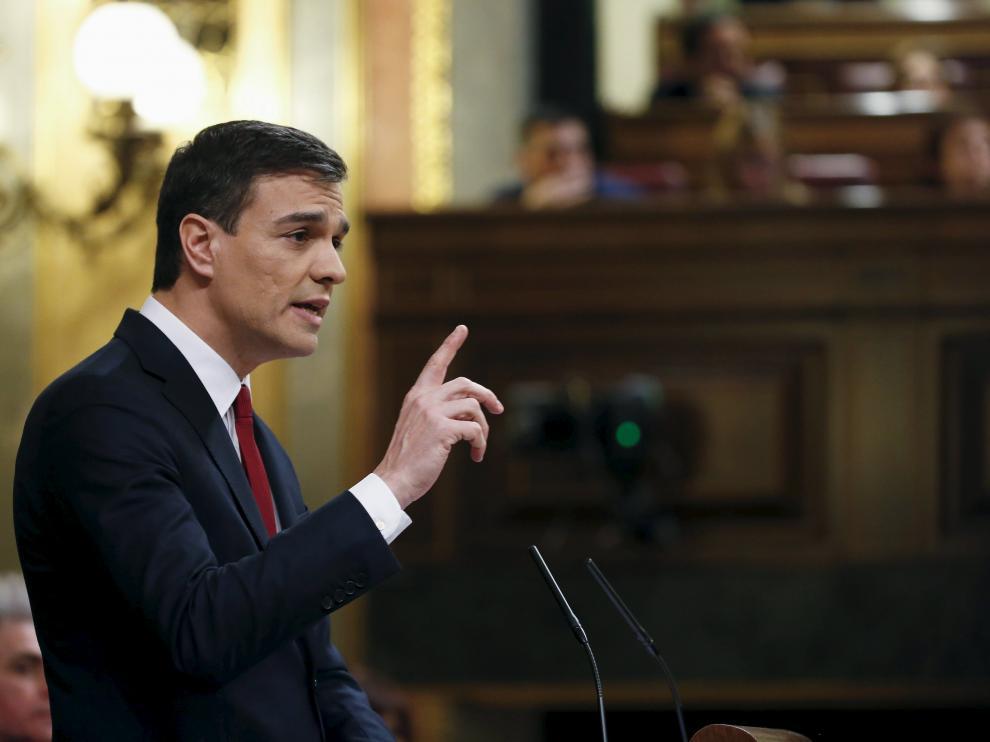 Pedro Sánchez, líder del PSOE, durante el debate de investidura.