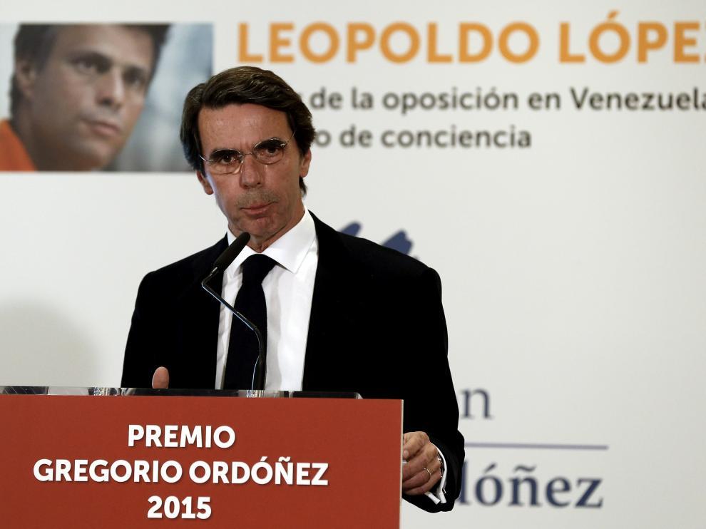 Aznar, este viernes en San Sebastián.