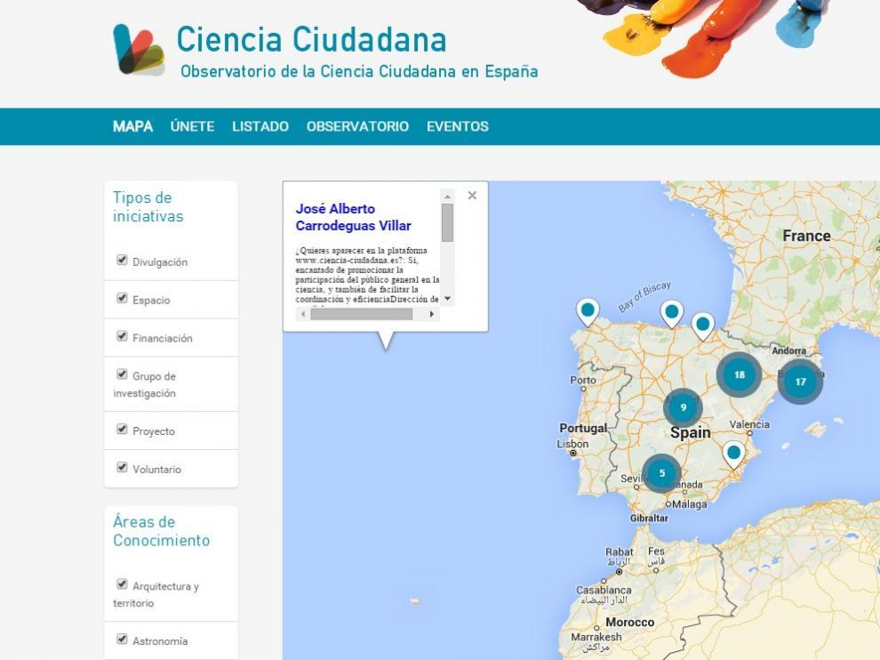 Desde el Observatorio de la Ciencia Ciudadana en España se accede a un mapa en permanente construcción.