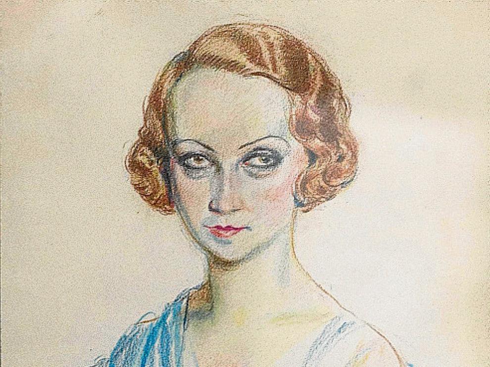 Dibujo a lápiz color, de Juan Lafita de 1933, que la volvió a pintar en 1939 y 1964