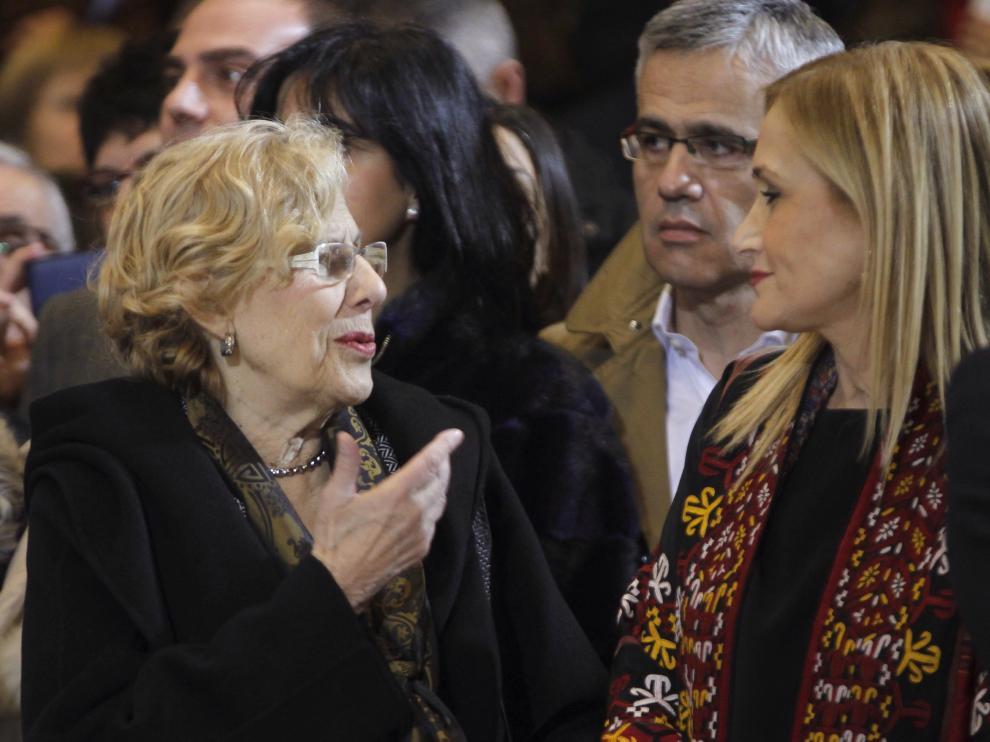 Cifuentes y Carmena  este viernes en Madrid.