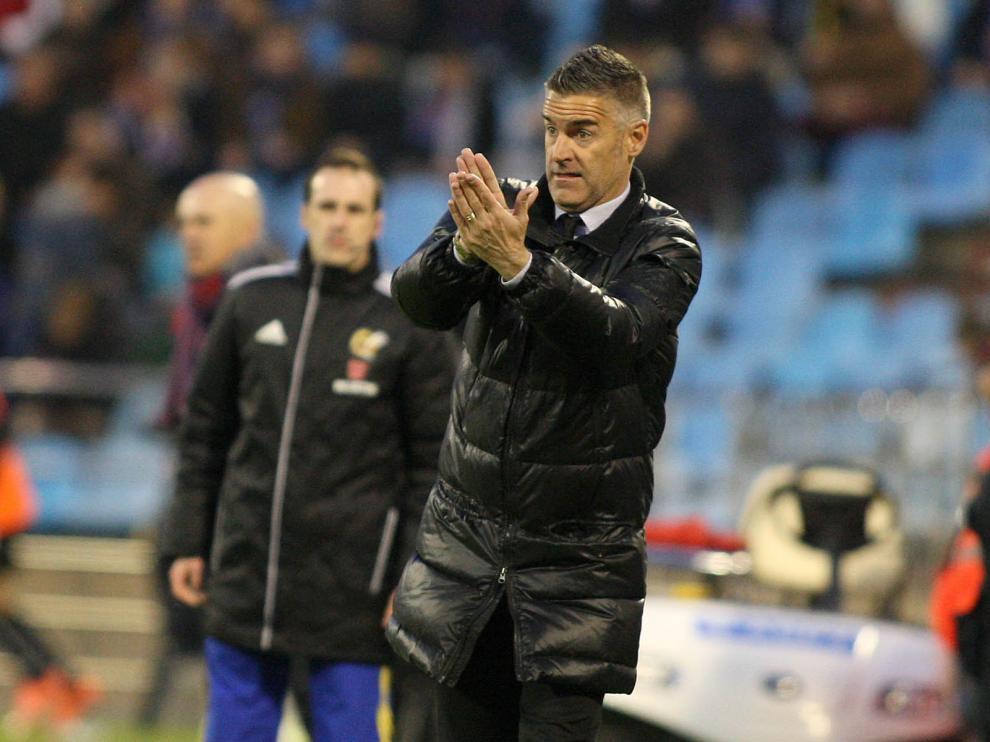 Lluís Carreras, durante el partido del Real Zaragoza ante el Albacete