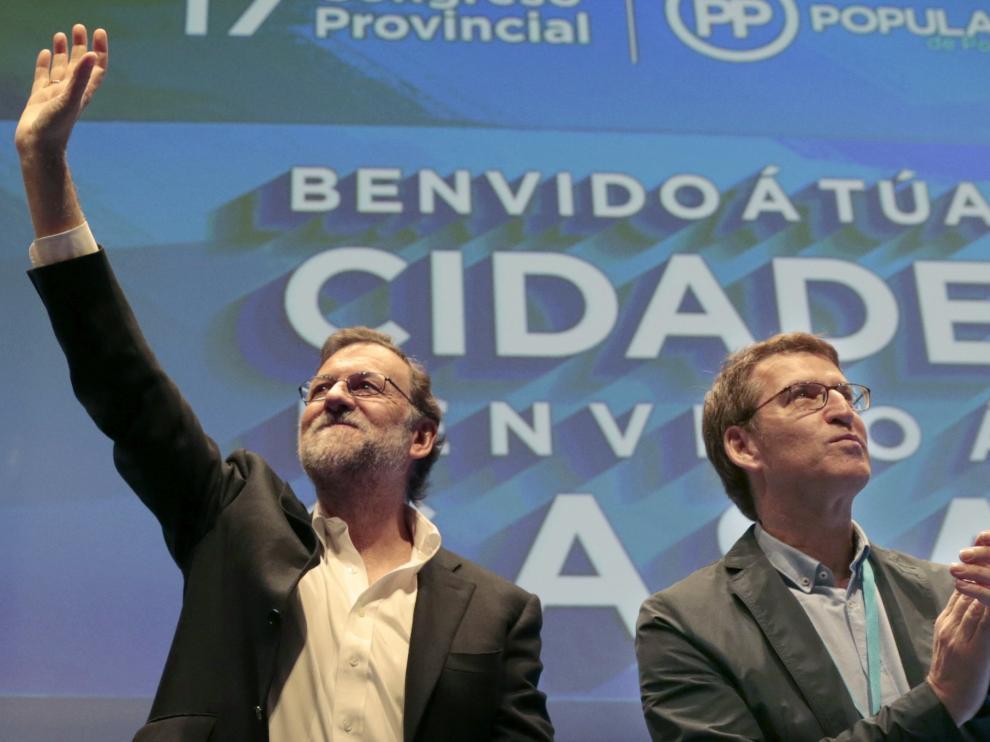 Rajoy y Feijóo en el Congreso del PP en Pontevedra.