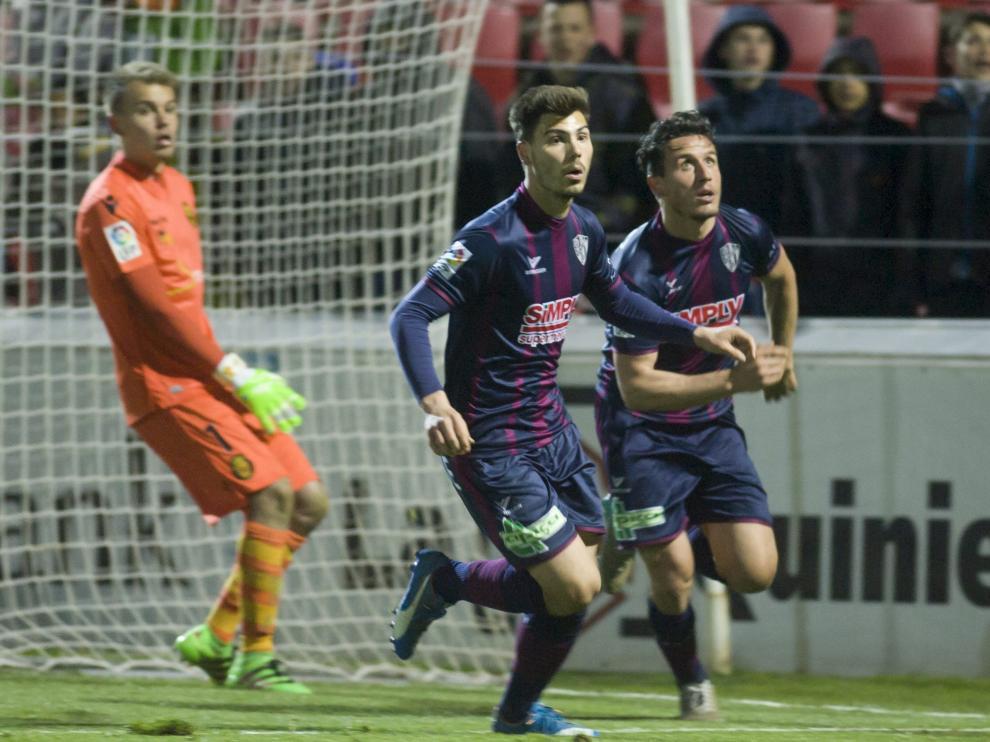 La SD Huesca durante un partido de esta temporada.