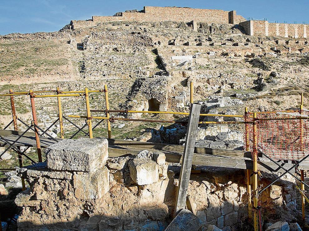 Imagen del teatro romano del yacimiento de Bílbilis tomada el pasado diciembre.