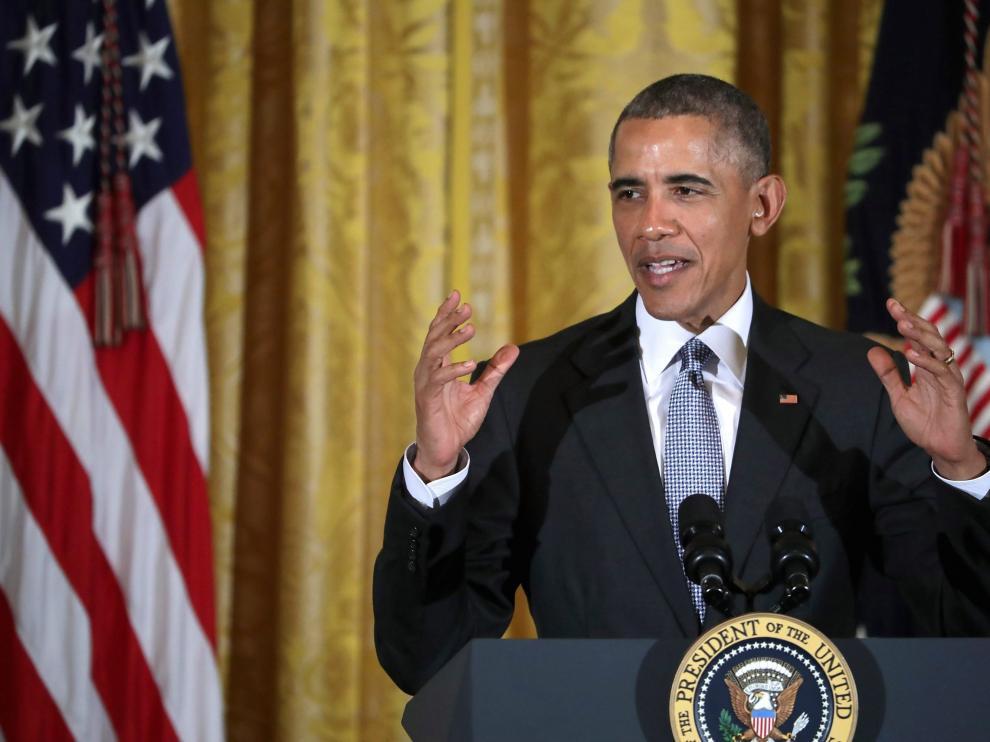 Barack Obama durante un acto oficial en la Casa Blanca