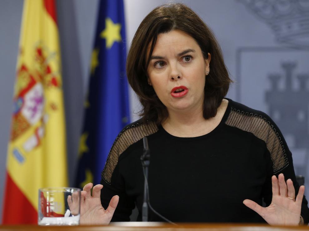 Soraya Sáenz de Santamaría durante una rueda de prensa del Consejo de Ministros.